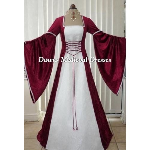 Renaissance Medieval Burgundy & White Wedding Dress
